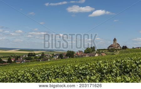 Church of Cuis and the Champagne village Cuis with green vineyards in the Champagne district Cotes de Blancs France.