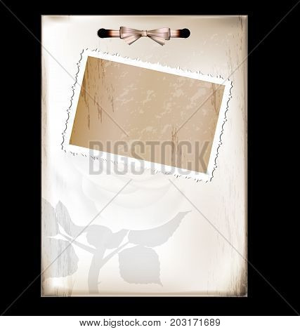 dark background retro stylized sheet of paper with image of flower and vintage-fashioned frame photo