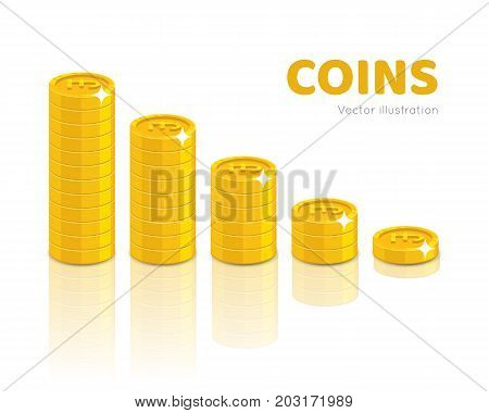Gold pounds piles cartoon style isolated. Heaps of gold pounds of various heights for designers and illustrators. Stacks of gold pieces in the form of a vector illustration