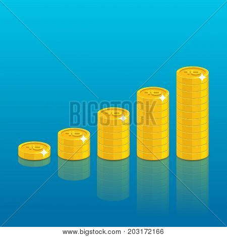 Ruble coin stack. Good financial foundation start, becoming rich. Business success and economy concept. Cartoon vector illustration on blue background