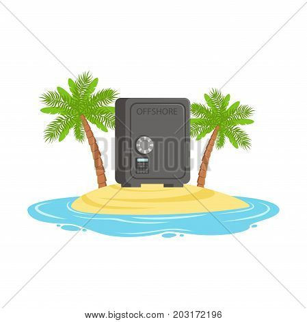 Closed safe on a tropical island, hidden in offshore wealth resources vector Illustration on a white background