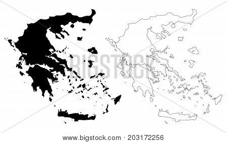 Greece map vector illustration , scribble sketch Greece map