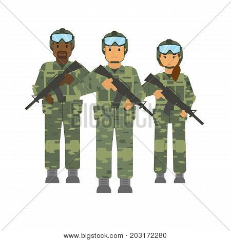 Vector arming soldiers group detachment with helmet and weapon white background isolated. Army warrior symbol. Soldier defense symbol