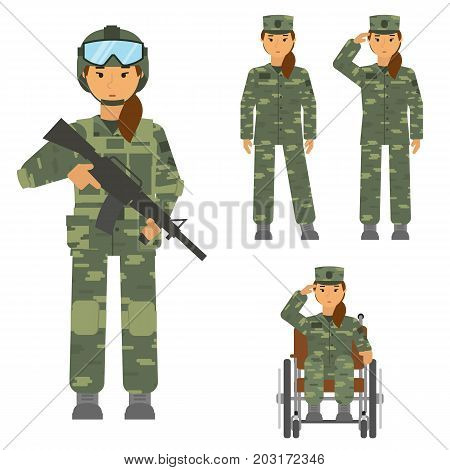 Vector set of soldier woman isolated on white background. Saluted soldier, warrior with weapon, soldier woman in armchair, soldier an attention. Camouflage uniform and battle weapon Army warrior symbol. Soldier defense symbol. Symbol of woman equality and