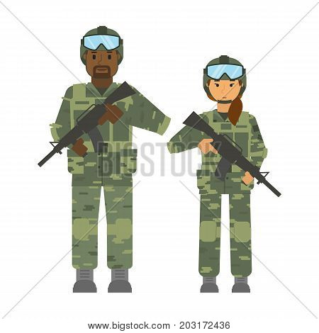 Vector arming soldiers man and woman group detachment with helmet and weapon white background isolated. Army warrior symbol. Soldier defense symbol. African, afroamerican soldier