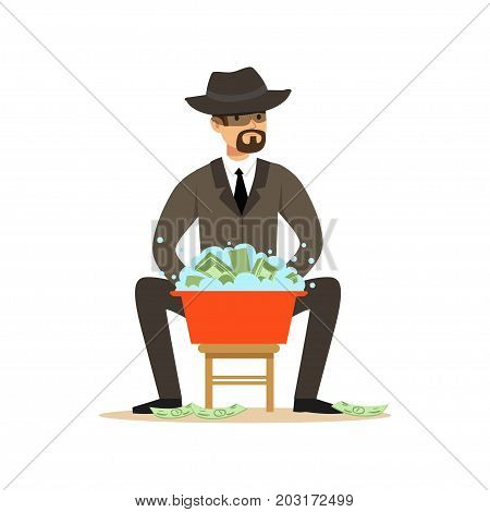 Man in a business suit and black hat washing the money in a basin with water, illegal money laundering vector Illustration on a white background