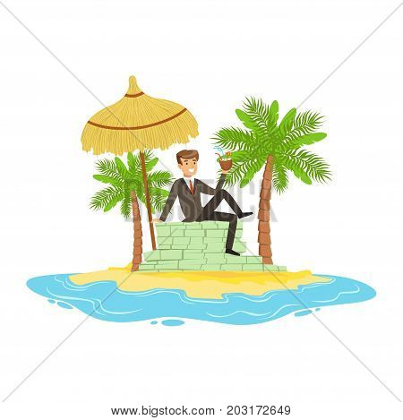 Man in a business suit relaxing on a big pile of money on a tropical island, hidden in offshore wealth resources vector Illustration on a white background