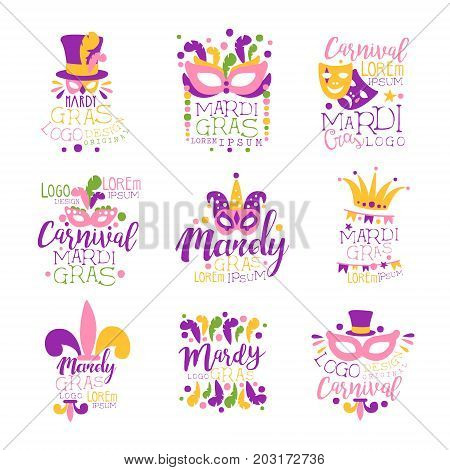 Mardi Gras logo set original design, hand drawn colorful vector Illustrations for greeting cards, banners, flyers, posters, gift packaging