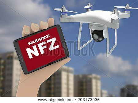 No Flight Zone For Drones Warning Concept