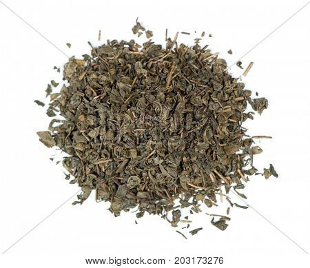 Heap of green tea leaves isolated on white background
