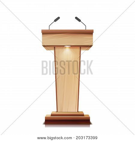 Realistic Wooden Tribune Isolated Vector. With Two Microphones. Wooden Classic Podium Stand Rostrum.