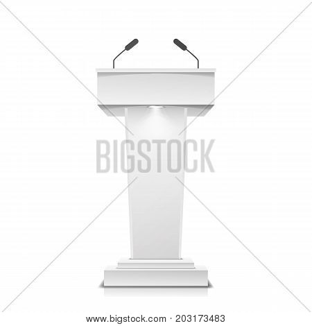 Tribune Isolated Vector. White Clean Podium Tribune Rostrum Stand. With Microphones.