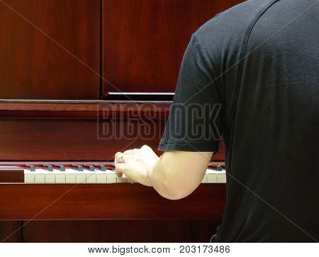 Back view of music performer playing piano at luxury hotel.