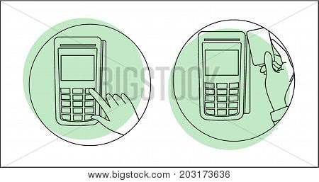 POS terminal. Payment terminal and bank cards. Terminal for paying for goods on the map. Payment terminal on white background. Flat style. Flat design. Vector illustration Eps10 file