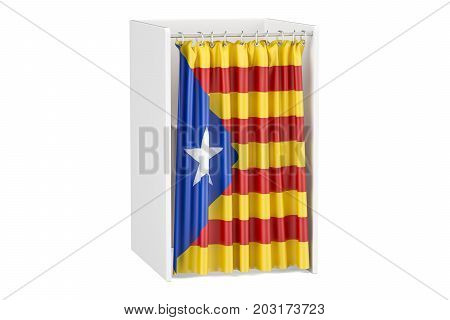 Catalonia referendum concept voting booth with Catalonian flag. 3D rendering isolated on white background