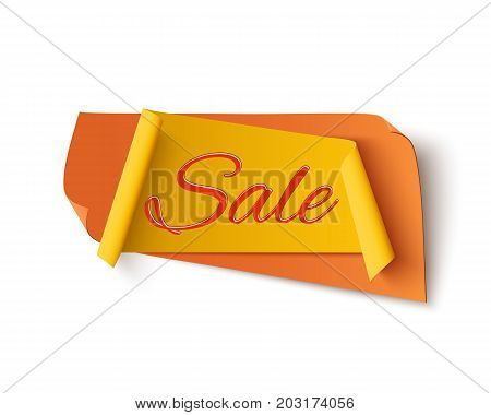 Orange with yellow, sale banner, isolated on white background. Template for poster or brochure. Vector illustration.