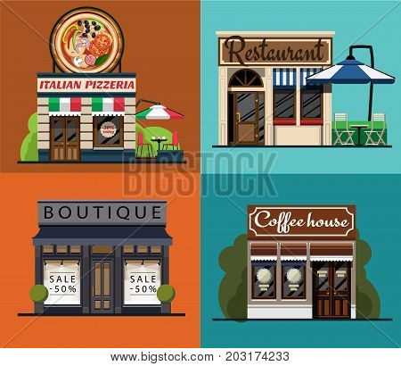 A set of facades of an Italian pizzeria, restaurant, boutique, cafe in a flat style. Facade of the Italian pizzeria. Facade of the restaurant. Facade of the boutique. Facade of the coffeehouse. Vector illustration Eps10 file