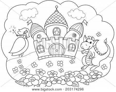 Bubble is a dream. The story of the princess, the dragon and the castle. A fairy tale. Vector storybook illustration.