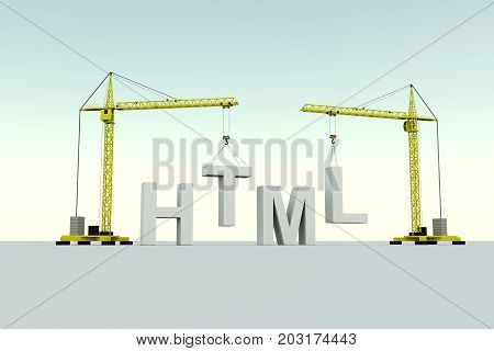HTML building concept crane white background 3d illustration