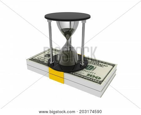 Hourglass And  Money  On White Background. Business Time Concept  3D Rendered Illustration