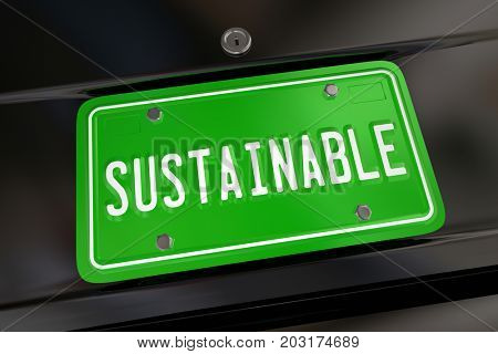Sustainable Car Auto License Plate Renewable Fuel Energy Power 3d Illustration