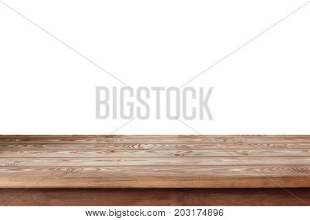 Empty wooden table top isolated on a white background. Table deck floor. Empty space for Your object or text.