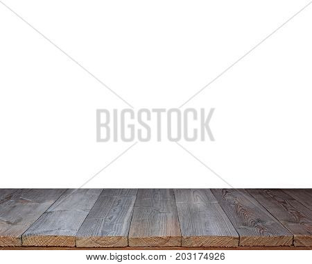 Empty wooden floor isolated on white background. A table countertop terrace floor. Empty space for Your object or text.