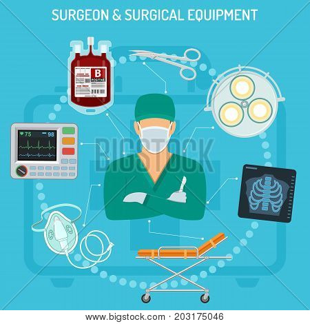 medical concept with surgeon, surgical equipment, scalpel, x-ray and stretcher flat icons. isolated vector illustration