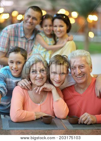 Outdoor portrait of big happy family looking at camera