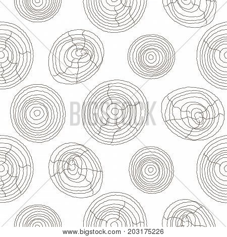 Seamless cork wood white pattern. Wooden light texture vector background circles.