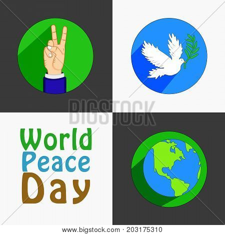 illustration of fingers, hand, pigeon and earth with World Peace Day text on the occasion of World Peace Day