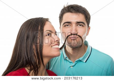 Couple Acting Playful Making Hair Mustache