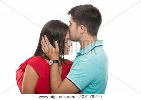 Boyfriend Kissing His Girlfriend On Forehead