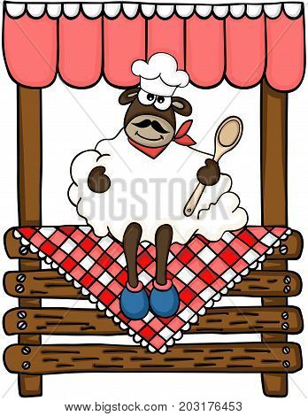Scalable vectorial image representing a cook sheep seated on wooden stand for sale, isolated on white.