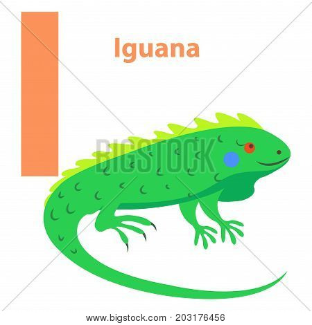Alphabet for children I letter Iguana cartoon icon isolated on white. Bright green reptile with prickly back and red eyes. Cheerful alphabet with funny cartoon animals. Vector illustration web banner.