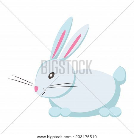 Cute funny white eared rabbit or hare vector flat cartoon sticker isolated on white. Domestic animal or pet illustration for game counters, price tags