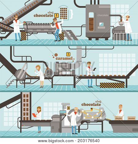 Process of caramel and chocolate production set of horizontal colorful banners chocolate factory colorful detailed vector Illustrations