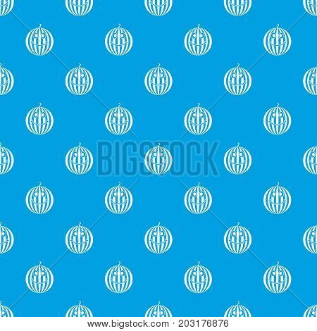 Ripe smiling watermelon pattern repeat seamless in blue color for any design. Vector geometric illustration