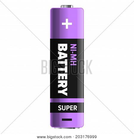 Super nickel-metal hydride type of powerful and compact battery isolated on white. Qualitative energy container for long usage in purple and black colors. Small galvanic appliance vector illustration.