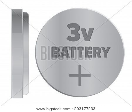 Compact round silver 3v battery isolated on white background. Qualitative energy container for small electronic devices. Mini galvanic appliance to support power content vector illustration.