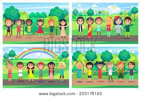 Children of different nationalities hold hands together and stand in line with trees, sun and rainbow on background. Kids unity vector illustration.