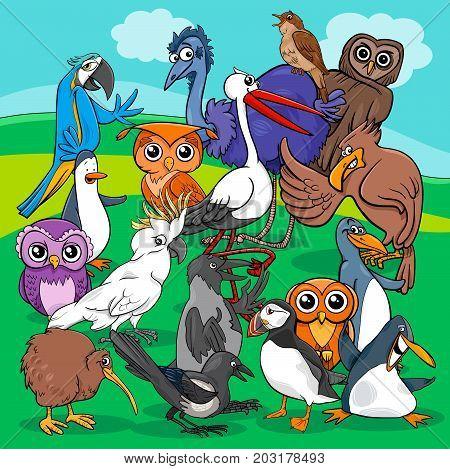 Birds Group Cartoon Illustration