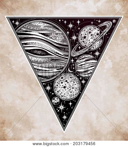 Decorative planets in solar system with scacred geometry triangle shape. Dotwork celestial art. Vintage elegant science. Occult, magic, esoteric philosophies, tattoo art. Isolated vector illustration.