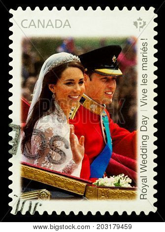 Moscow Russia - September 06 2017: A stamp printed in Canada shows the Royal Wedding of Prince William and Kate Middleton in London circa 2011