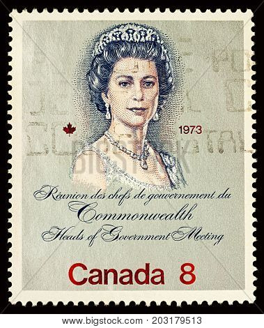Moscow Russia - September 06 2017: A stamp printed in Canada shows Queen Elizabeth II devoted to the Royal Visit and Commonwealth Heads of Government Meeting Ottawa circa 1973
