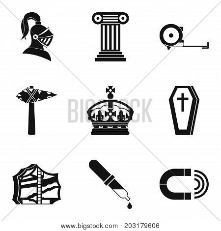 Ancient war icons set. Simple set of 9 ancient war icons for web isolated on white background