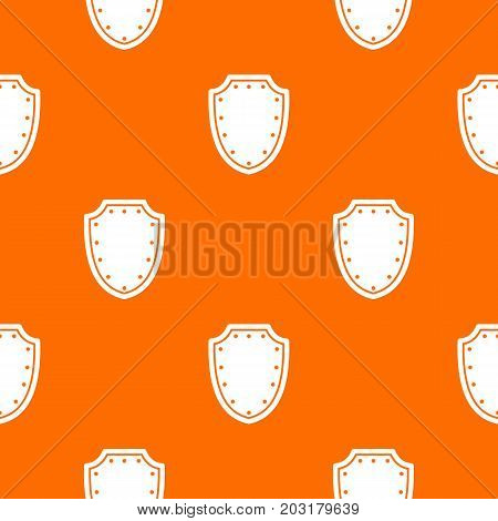 Army protective shield pattern repeat seamless in orange color for any design. Vector geometric illustration