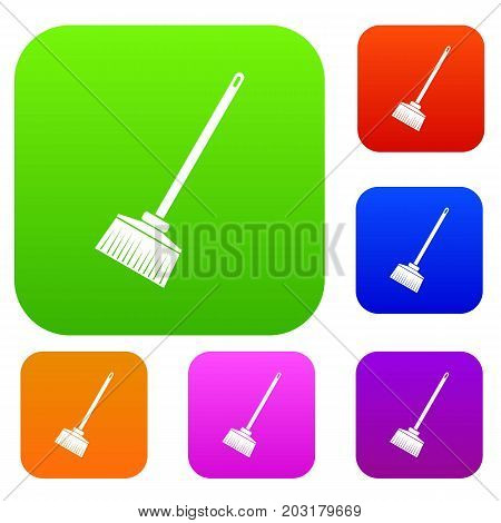 Broom set icon in different colors isolated vector illustration. Premium collection