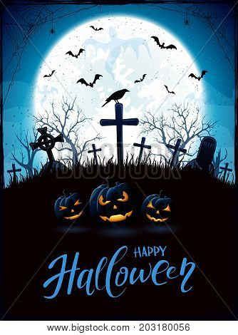 Halloween background with pumpkins, raven on a old cross and ghosts in the cemetery. Blue night with full Moon, illustration.