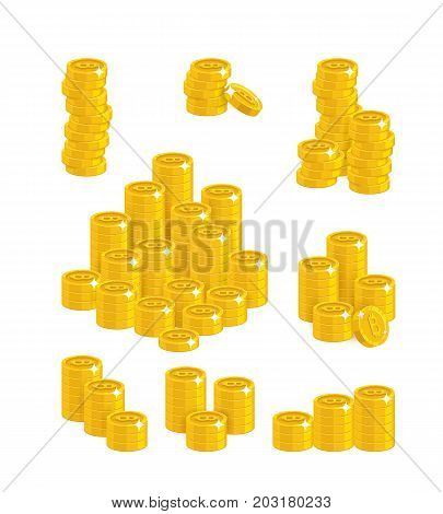 Slides gold bitcoins isolated cartoon set. A lot of slides and piles of gold bitcoins and bitcoin signs for designers and illustrators. Gold stacks of pieces in the form of a vector illustration
